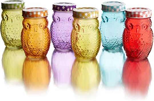 Clear Style Setter Owl 6 Piece Jar Set-Glass Canister with Airtight Metal Lids