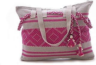 Bolsa bordada en telar de cintura Rosa con Gris