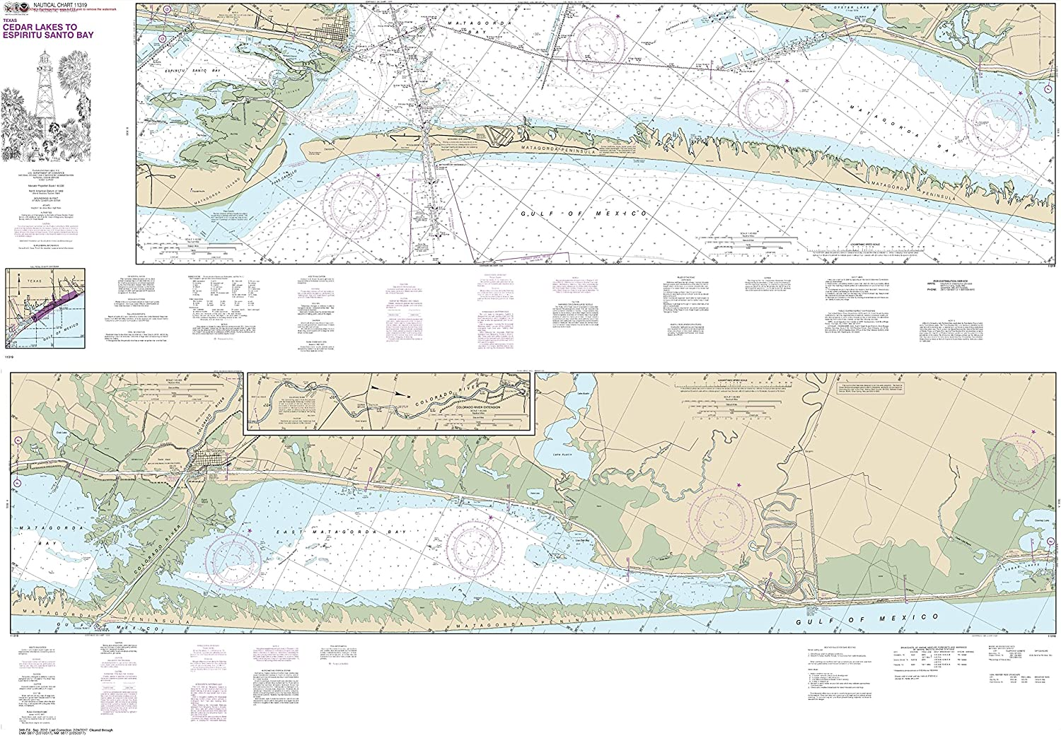 NOAA Chart 11319 Intracoastal Waterway Cedar Lakes to Espiritu Santo Bay  41.1  X 59.4  Matte Plastic Map