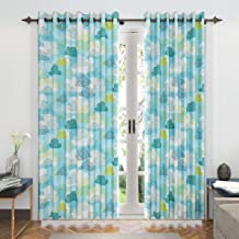Divine Casa Expression Abstract Door Curtains for Living Room/Bedroom, 47 x 85 inch (7 Feet) - Sky Blue and Green | 2 Panels