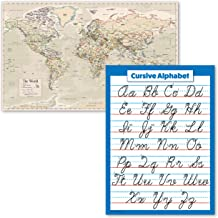 "2 Pack - Antique Style World Map Poster & Cursive Handwriting ABC Alphabet Chart (Laminated, 18"" x 24"")"