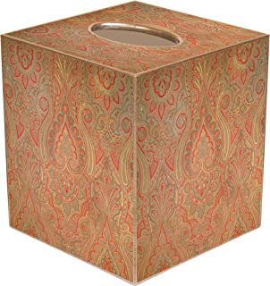 """Tissue Box Cover Tissue Holder Square Cube Bathroom Decor Desk Decor Bedroom Accessories Red Paisley 5"""" x 5"""""""