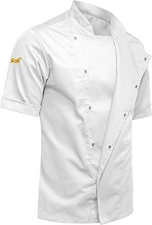 strongAnt® - Chaqueta de Manga Corta. Cocinero Noir Chef Ropa de Cocina - Hecho en EU - Blanco S-XXL