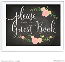 Andaz Press Wedding Party Signs, Chalkboard Pink Coral Floral Roses Print, 8.5x11-inch, Please Sign Our Guestbook, 1-Pack
