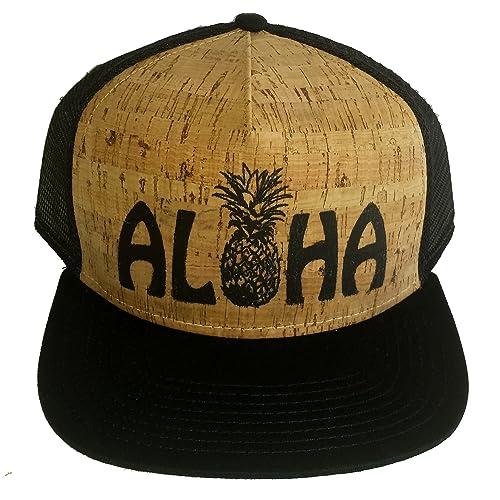 15468c0dc6a0e6 ThatsRad Aloha Pineapple Cork Snapback Mesh Trucker Hat Cap Flat Brim Shaka  Hawaii