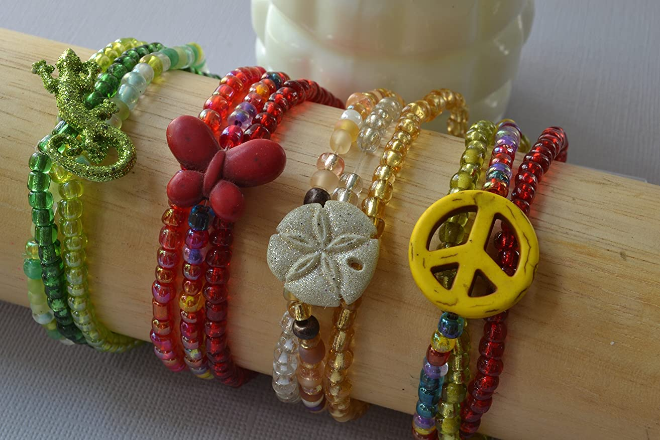 Stretch Bracelet Set of Four With Colorful Charms