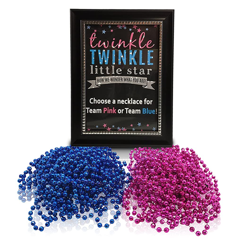 Gender Reveal Party Supplies-Twinkle Twinkle Little Star Sign With Gender Reveal Necklaces (1doz pink and 1 doz blue)-Baby Reveal Party Decorations