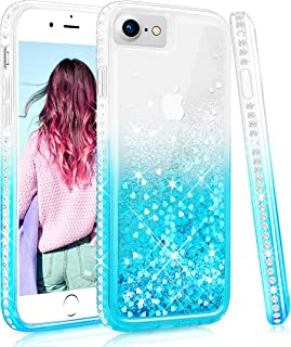 Maxdara Case for iPhone 6 6S 7 8 Glitter Liquid Case with Screen Protector Bling Sparkle Rhinestone Diamond Pretty Fashion Women Girls Case for iPhone 6 6S 7 8 4.7 inches (Teal)