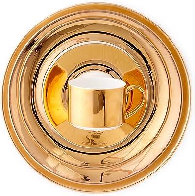 CRU by Darbie Angell Monaco 24kt 5 Piece Place Setting Dinnerware Set, Gold/White