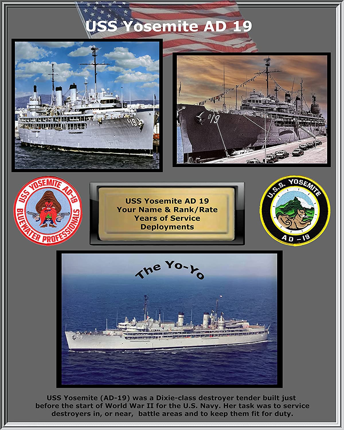 Max 54% OFF USS Yosemite AD SEAL limited product 19 Custom Personalized US Ships Navy Photo. Gui