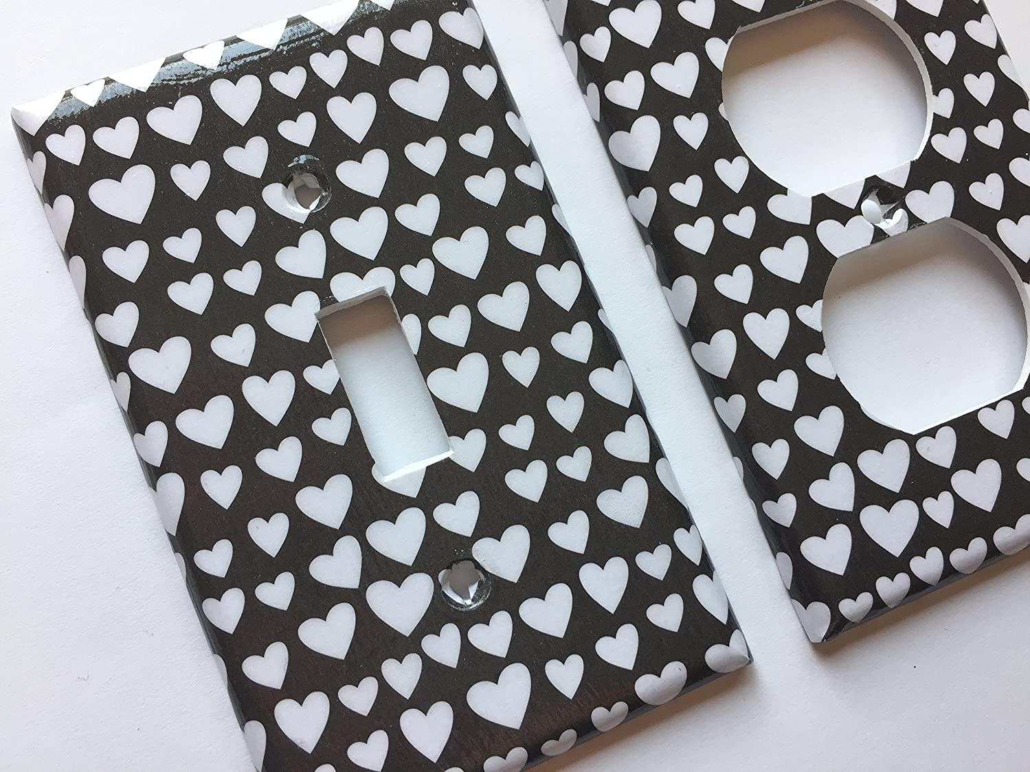 Black And Whie Hearts Light Switch Cover -Various Sizes Offered