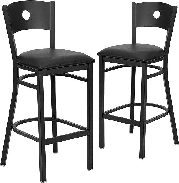 Flash Furniture 2 Pk HERCULES Series Black Circle Back Metal Restaurant Barstool Black Vinyl Seat