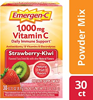 Emergen-C Vitamin C 1000mg Powder (30 Count, Strawberry Kiwi Flavor, 1 Month Supply), with Antioxidants, B Vitamins and El...