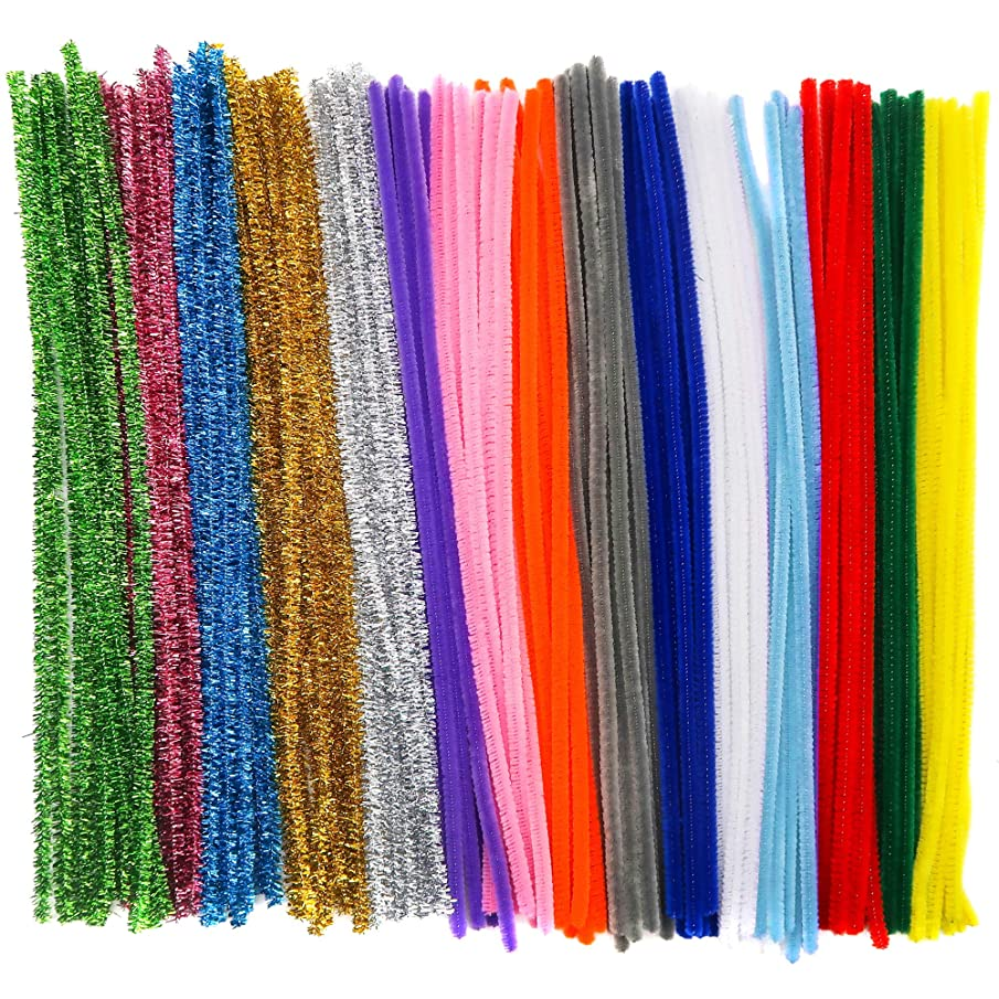 TOAOB 400pcs Pipe Cleaners Chenille Stems Craft Assorted Colors for DIY Art Projects 6 mm x 12 inch