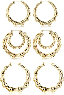 3 Pairs Bamboo Earrings Large Hoop Earrings Set Gold Tone Statement Hip-Hop Earrings For Women
