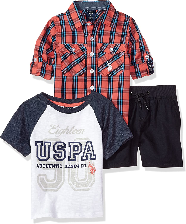 U.S. Polo Assn. Boys' Long Sleeve Woven, T-Shirt and Short Set