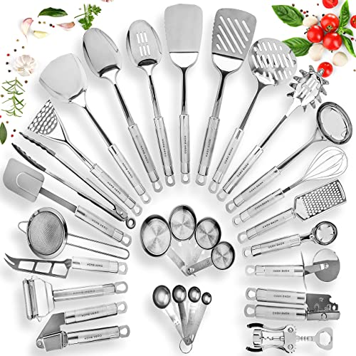 discount HOME HERO Stainless Steel Kitchen Utensil Set outlet sale - 29 popular Cooking Utensils - Nonstick Kitchen Utensils Cookware Set with Spatula - Best Kitchen Gadgets Kitchen Tool Set Gift outlet online sale