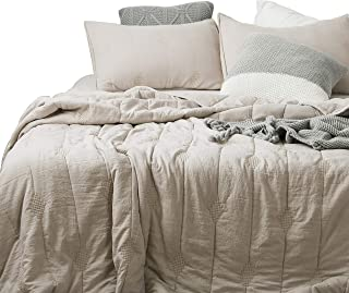 ANNA.Z HOME Ethan Comforter, Quilt, Stone Washed Microfiber 3 Pieces Set, Stitching and Embroidery, King and Queen Set Available in Solid Colors, Good for All Seasons. (Feather Gray, Queen Set)