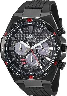 Men's Edifice Stainless Steel Quartz Watch with Resin Strap, Black, 25 (Model: EQS-800CPB-1AVCF)