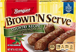 Banquet Brown 'N Serve Country Recipe Precooked Sausage Links, Keto Friendly, 6.4 Ounce Box, 10 Count
