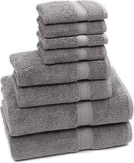 HomeLabels Luxury Premium Soft Cotton Towels 8 Piece Towel Set (Dark Grey); 2 Pack Bath Towels, 2 Pack Hand Towels and 4 Pack Washcloths