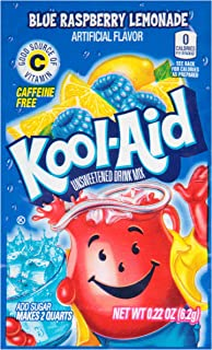 Kool-Aid Blue Raspberry Lemonade Flavored Unsweetened Caffeine Free Drink Mix (96 Packets)