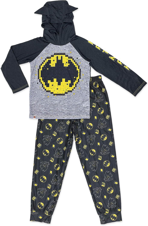LEGO Batman Boys Pajama,2 Piece PJ Set, Polyester Long Jogger Pants with Long Sleeve Top, Size 4/5 to 10/12