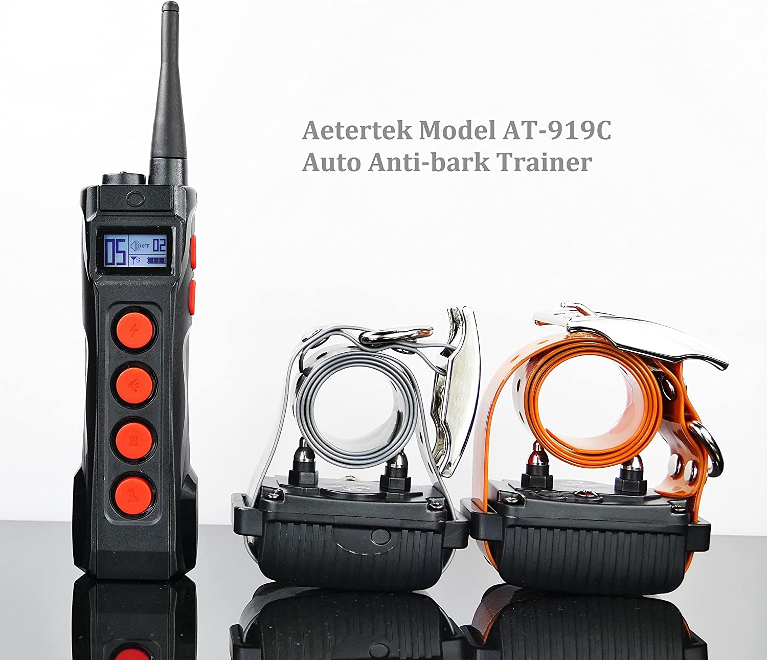 AETERTEK 1000 Meter Remote Dog Training Trainer Rechargeable Waterproof Collar w Safe and Humane Tone,Vibration,10 Levels of Adjustable Static Stimulation,Auto Anti Bark (Two Dog Set)