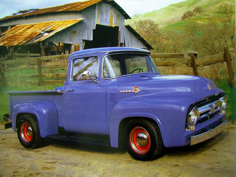 Vintage Truck Wall Decor Ford F 100 V8 Pickup Art Print Poster (16x20)