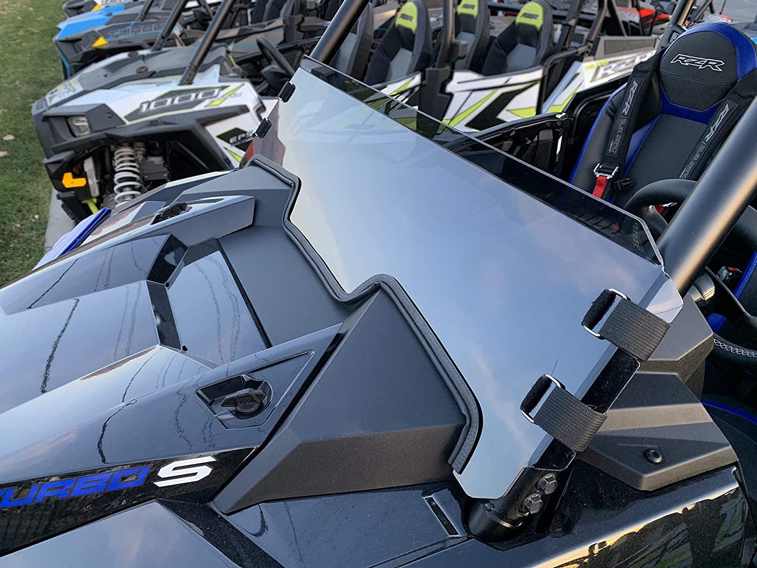 RZR 1000 clear Polaris RZR Polycarbonate Half Windshield with Quick Straps for RZR Turbo S and 2019 Turbo