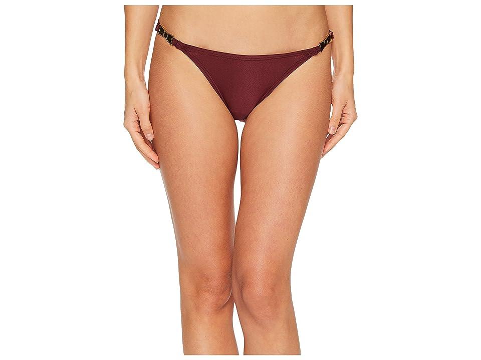 b016b65193170 Kate Spade New York Crescent Bay  74 Shirred Bikini Bottom w  Bow Hardware  (Deep Cherry) Women s Swimwear