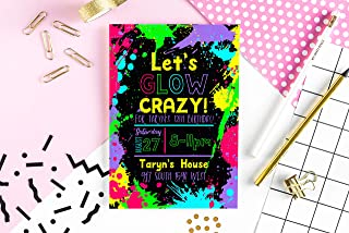 Neon Party Invitation - Glow in the Dark Party Invite - Glow Party Invite