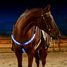 LED Horse Breastplate Collar - USB Rechargeable - Best High Visibility Tack For Horseback Riding - Adjustable, Sturdy & Co...