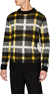 Marca Amazon - find. Contrast Check Knitted Suéter Hombre