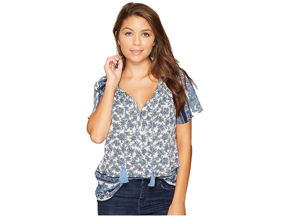 Lucky Brand Border Print Top (Blue Multi) Women's Short Sleeve Pullover
