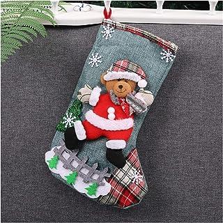 Glqwe, Glqwe Calcetines de Santa, árbol de Navidad Navidad Que cuelga Partido del árbol de la decoración de Santa Que almacena calcetín Regalo Bolsos del Caramelo Precioso Regalo Bolsa for niños Chimenea de