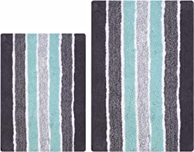 2-Piece Cotton Alpine Stripe Bath Rug Set - 100% Cotton Bath Mat Rug - 21x32/17x24 - Soft Absorbent Machine Washable - Gre...