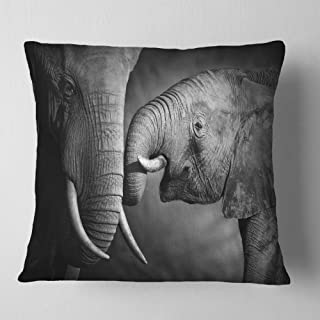 Designart Elephants Showing Affection' Abstract Throw Cushion Pillow Cover for Living Room, sofa 18 in. x 18 in