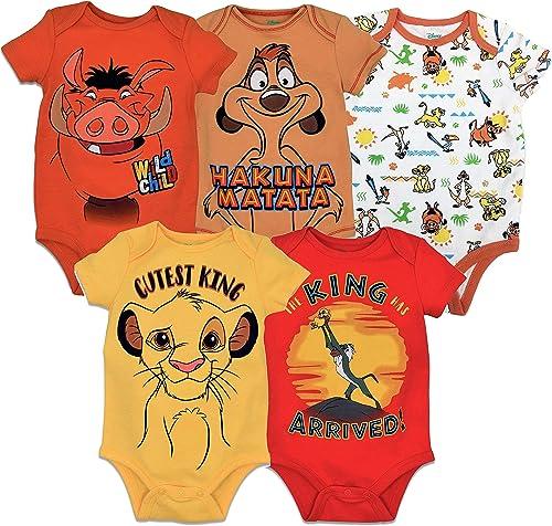 Disney 5 Pack Short Sleeve Bodysuit: Mickey Mouse Lion King Pixar & Winnie the Pooh