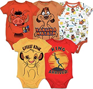 5 Pack Short Sleeve Bodysuit: Mickey Mouse Lion King...