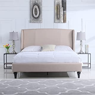 Divano Roma Furniture Classic Deluxe Linen Platform Bed Frame with Upholstered Shelter Headboard (Full, Ivory)