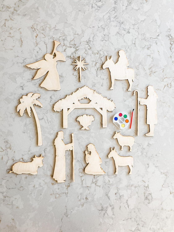 by Unbranded Juego de belén para pintar, juego de Navidad, manualidades para niños, regalo de cumpleaños, manualidades en casa