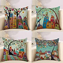 RABUIT Fall Sofa Pillow Covers 18x18 inches Pattern Cushion Covers Decorative Throw Pillows for Sofa Bed Chair Car (Colorful Houses, 4)