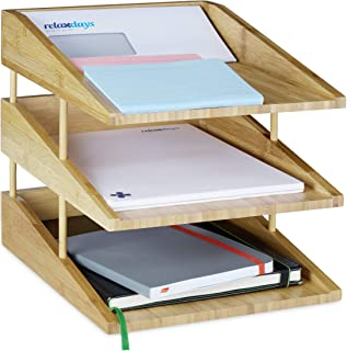 Relaxdays Document Filing Tray, Stackable, DIN A4 Letter Rack, Office, Desk, Bamboo, 3 Tiers, Natural