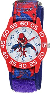 MARVEL Boys Spider-Man Analog-Quartz Watch with Nylon Strap, Blue, 16 (Model: WMA000192)