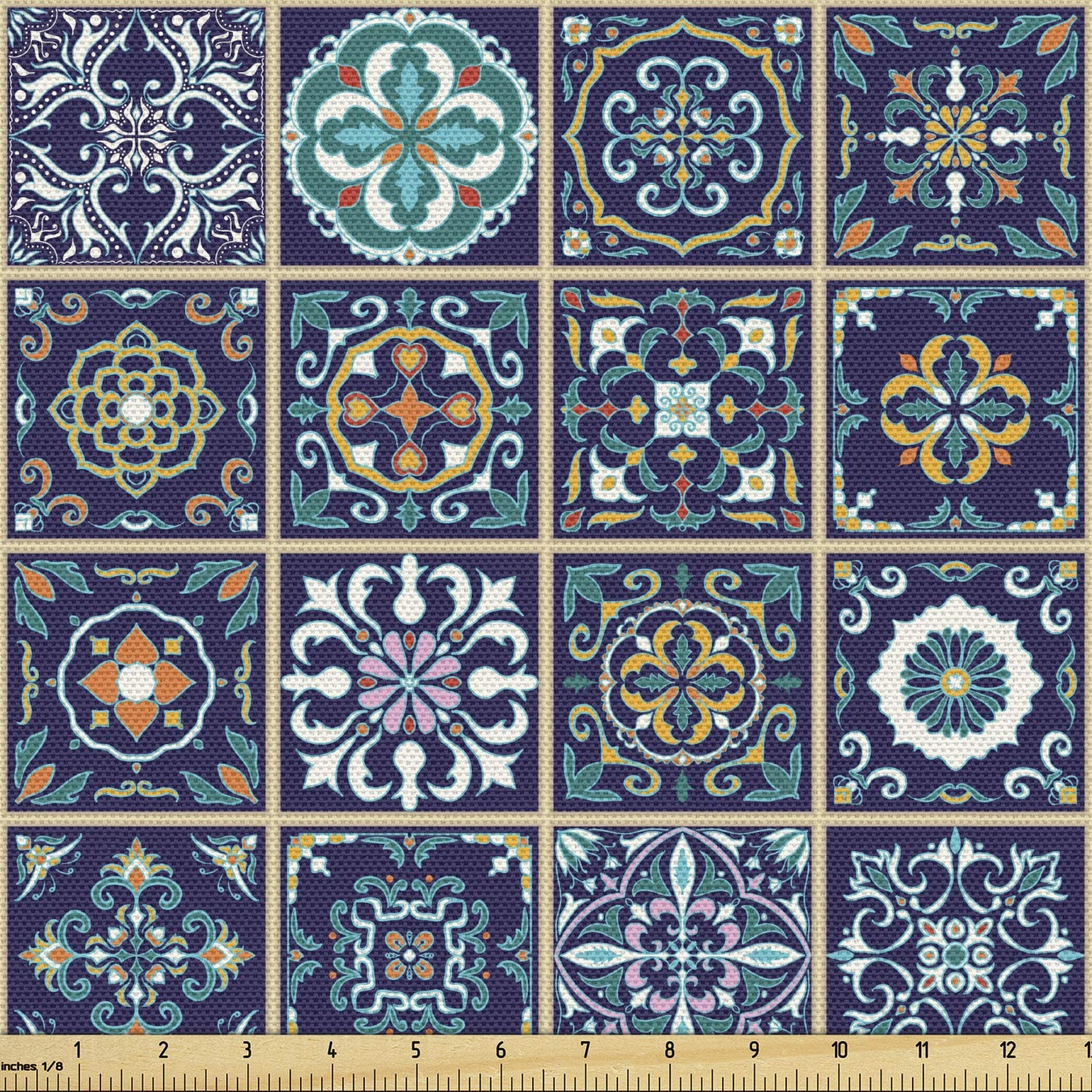 Lunarable Mosaic Fabric by The Moroccan Sales results No. Max 77% OFF 1 Yard Portuguese Azulejo