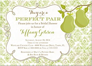 Perfect Pair Pear Bridal Shower Invitations, Green Damask Couples Shower, Base price is for a set of 10 5x7 inch card stock invitations with white envelopes