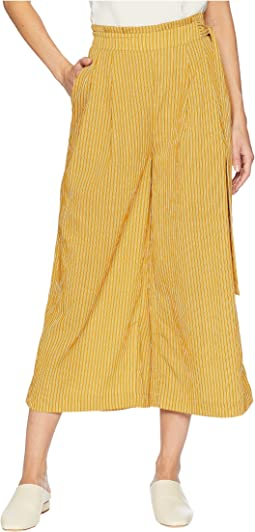 Side Tie Pleated Wide Leg Pants