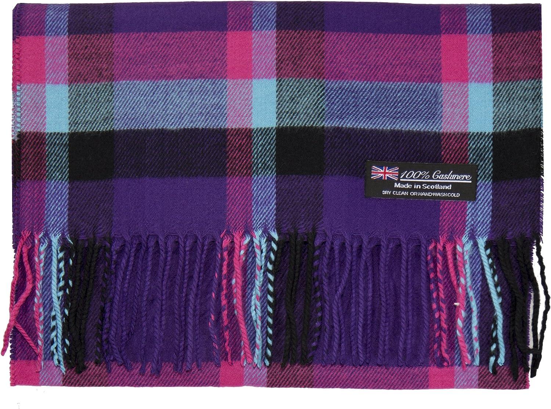 100/% Cashmere Scarf Made in Scotland Wool Buffalo Tartan Windowpane Check Plaid