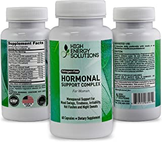 HIGH ENERGY SOLUTIONS Hormonal Support Supplement for Women - Menopausal Support for Mood Swings Tiredness Irritability Hot Flashes and Night Sweats - Estrogen Free - 60 High Potency Capsules